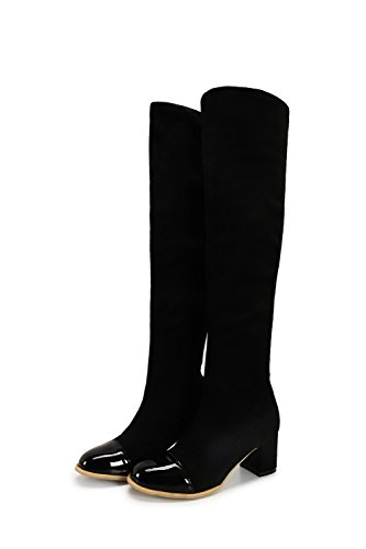 AgooLar Damen Ziehen auf Mittler Absatz Blend-Materialien Hoch-Spitze Stiefel, Schwarz, 36