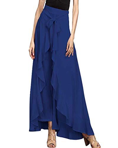 VONDA Damen Hosenrock Rüschen Rock Lange Hosen Hohe Taille Röcke Elegant Freizeithose Blau 2XL -