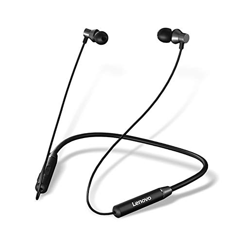 Lenovo HE05 Wireless Bluetooth Neckband Earphone, Bluetooth 5.0 Earbuds in-Ear Deep Bass Headphones, Waterproof Sweatproof Magnetic Earphones with Mic (12 Hours Play Time, Cvc6.0, IPX6) (Black)