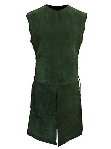 tigter Waffenrock aus Leder für Jäger, Waldelfen und Bogenschützen - LARP, Mittelalter, Fantasy & Cosplay - Grün - Größe: M-L ()
