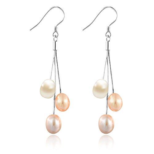 6mm orecchini della perla di acqua dolce naturale delle donne di argento placcato