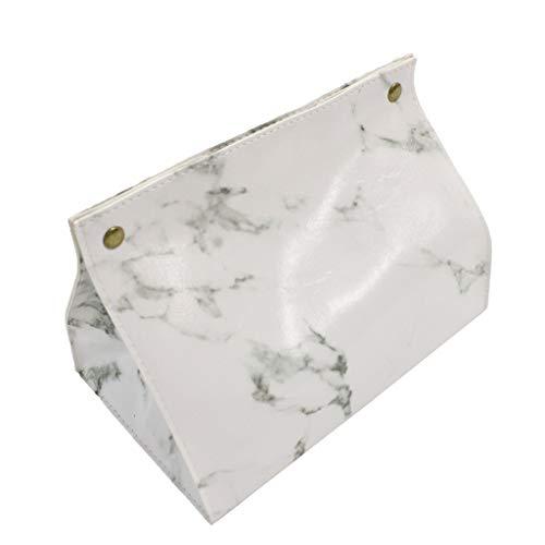 Chrom Tissue Box Cover (MM456 Kosmetiktücher Box Box für Kosmetiktücher - Taschentuchbox - Marmor Muster Tissue Box PULeder Home Auto Serviette Papier Container - 19 * 14 * 13.5cm (Weiß))