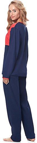 Merry Style Pigiama per Donna MSDR5004 Blu Scuro/Rosso