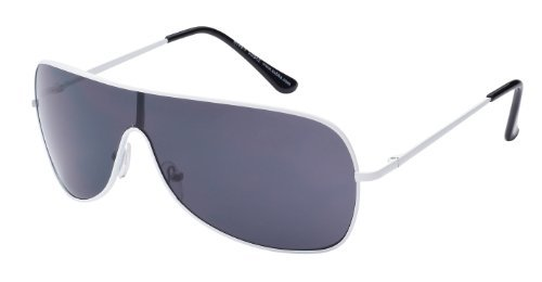 Piloten Sonnenbrille Pilotenbrille Fliegerbrille Pornobrille, weißer Rahmen, schwarze Gläser Art. 8149-7, mit Federscharnieren!