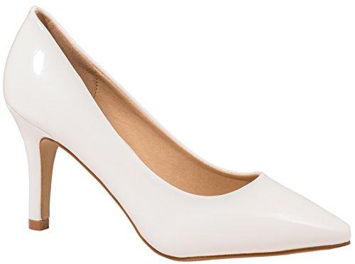 Elara Damen Pumps Spitze High Heels Stilettos Lack| chunkyrayan 1230-a-Weiss-39