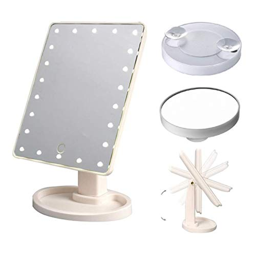 Goldstar  Espejo de Maquillaje con Luces, 16 Luces LED Brillantes iluminadas Espejo cosmético tocador, Pantalla táctil, extraíble 10x Lupa Espejo portátil
