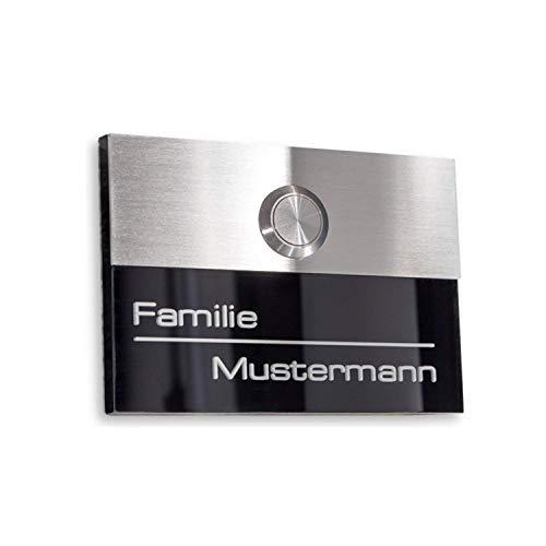 Metzler-Trade - Türklingel in schwarz - inkl. Individueller Gravur - mit wasserdichtem LED-Taster (verschiedene Farben wählbar) - Unterputz-Montage - Geschenkidee - Maße: 110 x 80 mm
