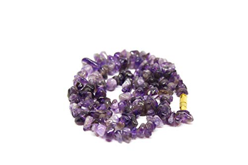 Talk To Crystals Purple Crystal Uncut Bead Amethyst 6mm Chips Necklace for Healing (Weight :10-20 GMS, Color : Purple) for Unisex