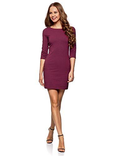 oodji Ultra Damen Jersey-Kleid Basic, Violett, DE 34 / EU 36 / XS