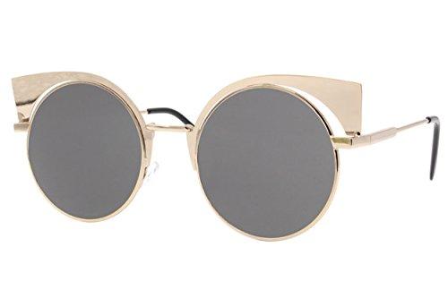 Cheapass Sonnenbrille Rund Gold Grau UV400 Designer-Brille Festival Hipster Damen Frauen