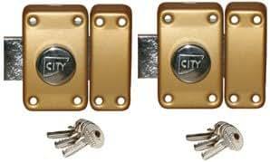 Paire de verrous à bouton - 6 clefs - porte 45 mm