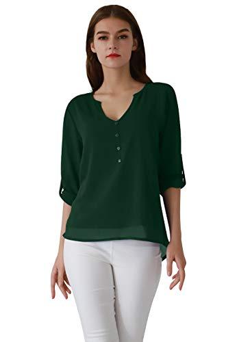 OMZIN Damen Langarmshirt V Ausschnitt Oberteile Chiffon Henley Shirt Elegante Blusen Grün M