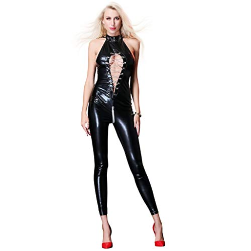 (RYQXY Frauen Enger Bodysuit Sexy Unterwäsche Aus PU-Leder Kreuzverband Ärmellos Schritt öffnen Catsuit Flexibler Bodysuit Sexy Kostüme Erotische Party)