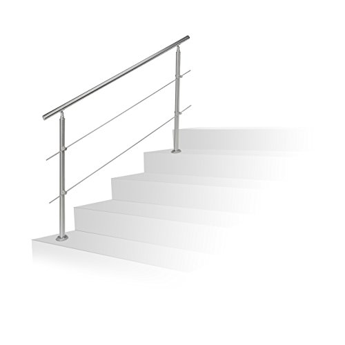 Relaxdays Treppengeländer Edelstahl Brüstungsgeländer Treppenhandlauf Set Silber