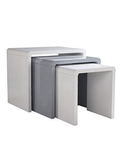 Juego de 3 mesas nido de color blanco brillante, mesa de café con mesa auxiliar para salón o muebles