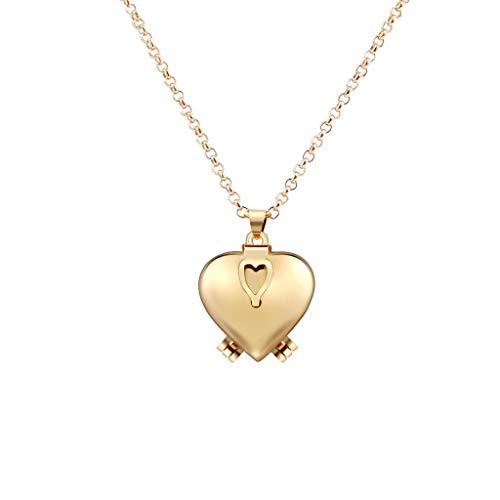 Damen Kette,Enlarge Photo Kleine Schachtel Herzform Kreatives Halskette Kette Necklaces Halsketten Anhänger Geschenk Schmuck Jewelry Gliederkette,Überraschungsgeschenk für Freundinnen (A)