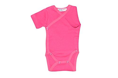 Kurzarm-Baby Wickelbodys rosa Grösse 62 Body Unisex aus 100% Baumwolle mit Druckknöpfen