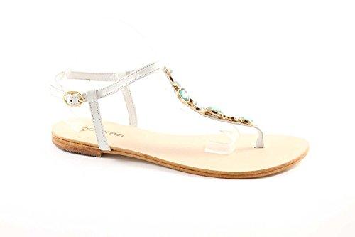 GEMMA 604 white sandali donna cuoio infradito pelle diamanti Bianco