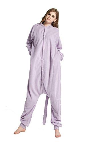 URVIP Erwachsene Unisex Jumpsuit Tier Cartoon Fasching Halloween Pyjama Kostüm Onesie Fleece-Overall Schlafanzug Violett Elfe Large (Erwachsenen-cowboy-pyjama)