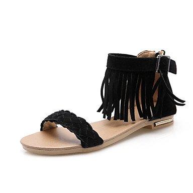 Sandales femmes semelle lumière confort d'été Gladiator matériaux sur mesure robe en simili-HeelBuckle Tresse plate décontracté fermeture Éclair Black