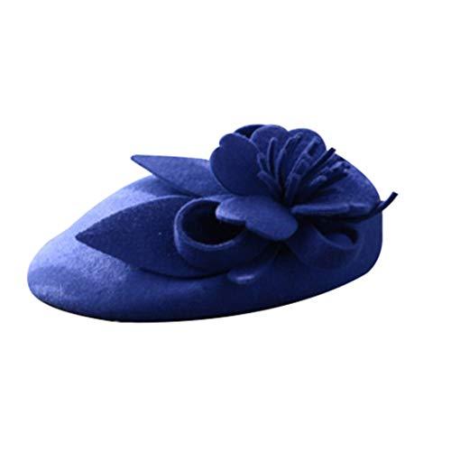 TOBEEY Kopfschmuck Hüte für Frauen Wolle Pillbox Hut Vintage Floral Fedoras Cap Kirche Partei hat