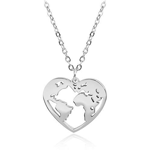 SUNIANA® - Halskette ♥Wanderlust♥ Herz Weltkarte | mit Anhänger in Herzform | Weltkugel | Edelstahl | Damen Kette (Silber) (Heart Anhänger Shaped)