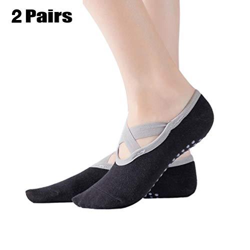 Brinny 2 Paar Yoga Socken mit ABS Sohle/Pilates Socks/Stoppersocken/Kampfsport/Gymnastik/Ballett/Tanz Socken/Fußbodensocken, Rutschfeste Socken für Sport, für Damen Socken -