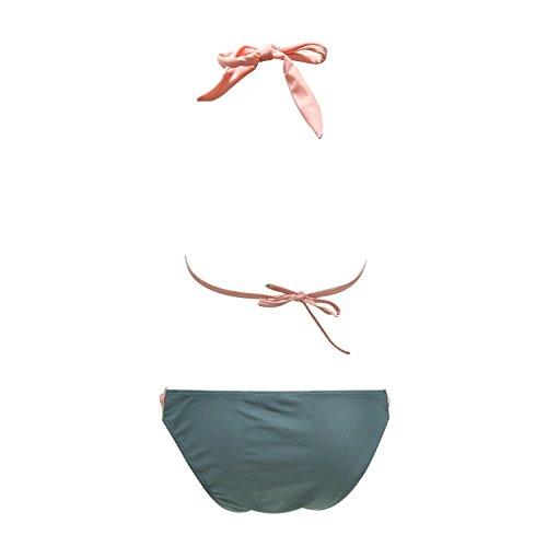Aidonger Damen Neckholder Bandeau Bikini Sets Metall Dekoration Zweiteilig Badeanzug Verbindung Farben EU32-EU40 Rosagrau