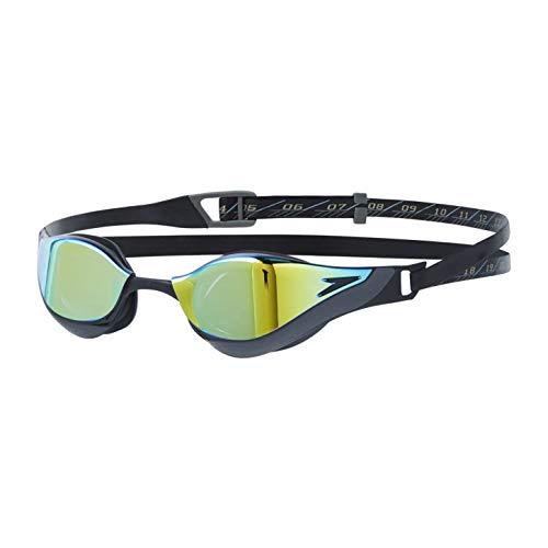 Speedo Unisex- Erwachsene Fastskin Pure Focus Schwimmbrillen, Black/Cool Grey/Blue/Gold, One Size