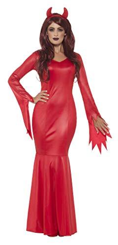 Smiffys Damen Teufel Mätessen Kostüm, Kleid mit nassem Look und Hörner, Größe: 40-42, 48016