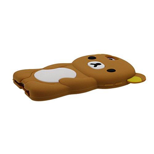iPhone SE 5C Hülle Silikon Gel Case für Apple iPhone 5S 5 Hell-Pink, Karikatur Tier Schön Bär Aussehen Weich Schutzhülle Anti-Shock Braun