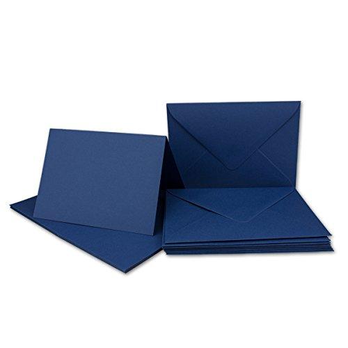 30x Faltkarten Set mit Brief-Umschlägen Dunkelblau/Nachtblau - DIN A6 / C6-14,8 x 10,5 cm | Premium Qualität | FarbenFroh® von Gustav NEUSER®
