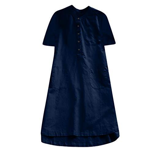 iläufige Knopf Plus Größen Bluse, Splice Baumwollhemd ()