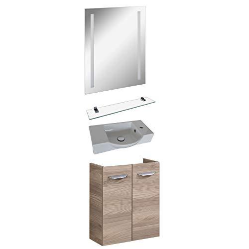 FACKELMANN hellbraunes Gäste WC Badmöbel Set hängend Keramikwaschbecken & LED Badspiegel 60 cm 4 TLG