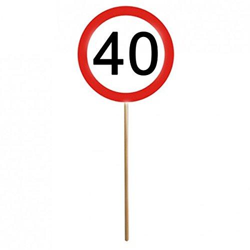 Set di 1240° compleanno Mini cartelli segnali stradali con bastoncino decorativo