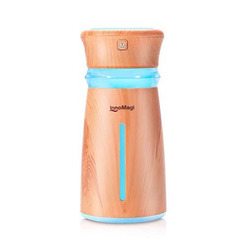 InnoMagi 300ml Humidificador Ultrasónico Aromaterapia, Difusor de Aceites Esenciales de Vapor Frío,7-Color LED, Apagado Automático, Mejorara el Aire Seco, Hogar, Oficina, Bebé Etc