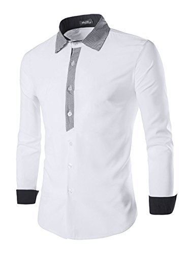 sourcingmap Pour Hommes Col Pointu Veste Droite Slim Fit Plaids Chemise Blanc