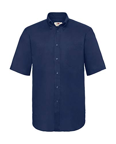 Fruit of the Loom Herren Kurzarm Oxford Hemd, Navy Blau, Gr.XXXL