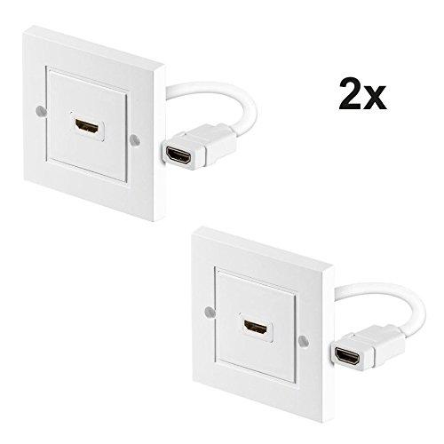 PerfectHD 2 Stück HDMI Wanddose 1 Fach Anschlussdose Buchse Unterputz Dose weiß FullHD 3D