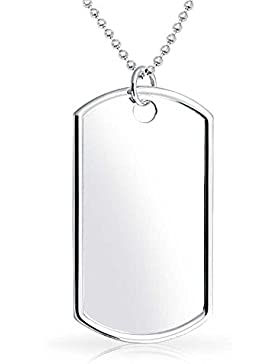 Bling Jewelry 925 Silber Große 2in Dog Tag Kette mit 24in Kette