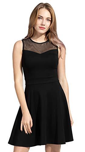 Sylvestidoso Damen A-Linie kurzes ärmelloses schwarzes Abend Cocktail Party Faltenkleid mit Netz Blütenspitze (XL, schwarz)