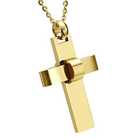 AnaZoz Fashion Jewelry Stainless Steel Pendant Necklace Cross Gold Pendant Necklace for Men,Size 3.2x4.5CM Color