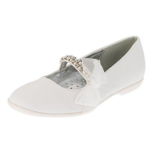 Giardino Doro Festliche Mädchen Ballerinas Schuhe mit Echt Leder Innensohle M412ws Weiß 34