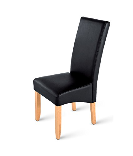 SAM® Esszimmer Polsterstuhl Sancho mit SAMOLUX®-Bezug in schwarz, Pinienholz-Beine in buche, Stuhl mit hoher Rückenlehne, hoher Sitzkomfort Dank Polsterung [53258187] -
