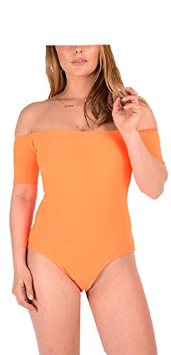 Loxdonz Frauen Einteilige Badeanzüge Neon Off Schulter Badeanzug Bodysuit Bademode (ML - EU 40/42, Neon Orange)