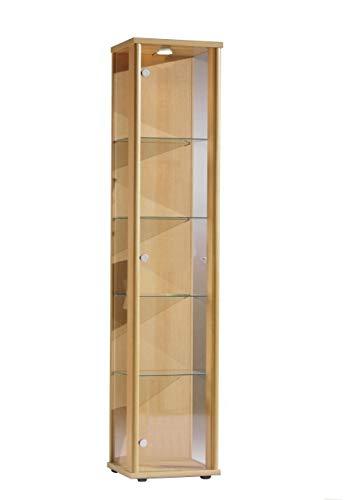 BR-Wohndesign Glasvitrine Sammlervitrine Vitrine LED beleuchtet incl. 4 Glasböden ESG Buche Dekor 176x37x33 cm 1trg
