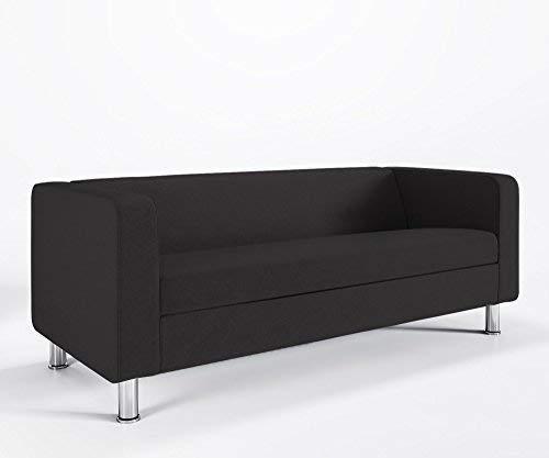 Marbet Style Loungesofa 3-Sitzer Cubby 4N3 Cocktailsofa Hotelsofa Bürocouch Webstruktur Luna, Farbe:L41 - Braunschwarz