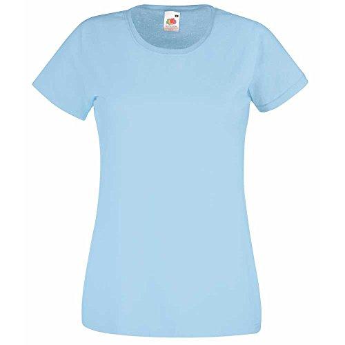 Fruit of the Loom- maglietta a maniche corte Valueweight per donna Azzurro cielo