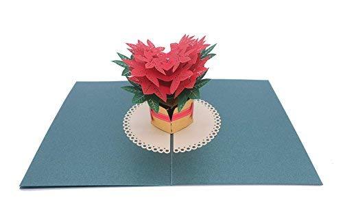 Paper Love Roten Weihnachtsstern 3D Pop Up Grußkarte Für die Graduierung, Geburtstag, Danke, Hochzeit, jeder Anlass