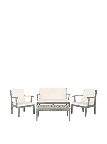 Safavieh EUP6710B Tisch und Stühle, 4-Teiliges Set für den Garten, Holz, aschgrau/naturfarben, 65 x 63 x 81 cm